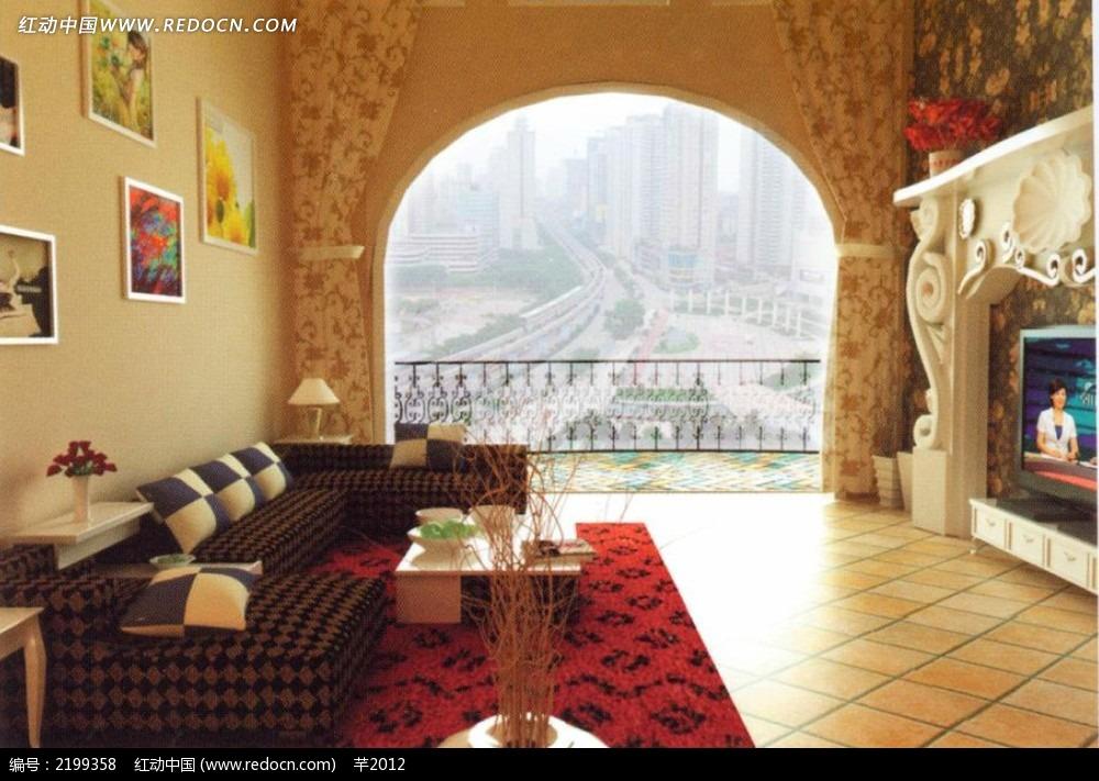 客厅阳台拱形门造型效果图3dmax免费下载 室内设计素材