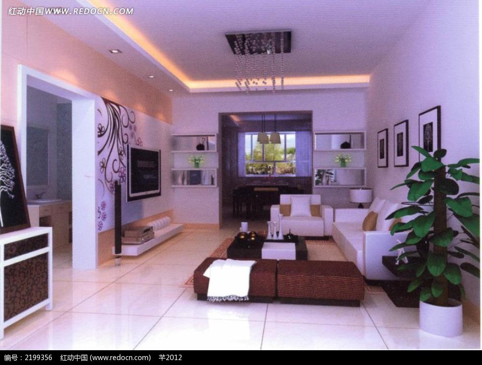 现代客厅手绘电视墙效果图片