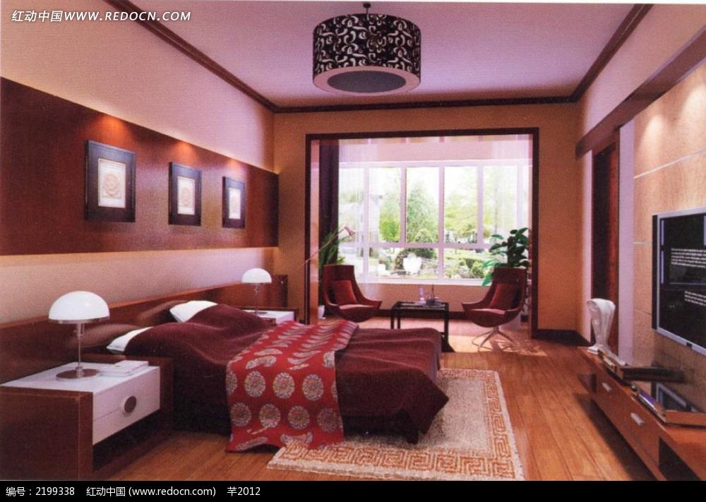 现代中式卧室效果图3dmax免费下载_室内设计素材
