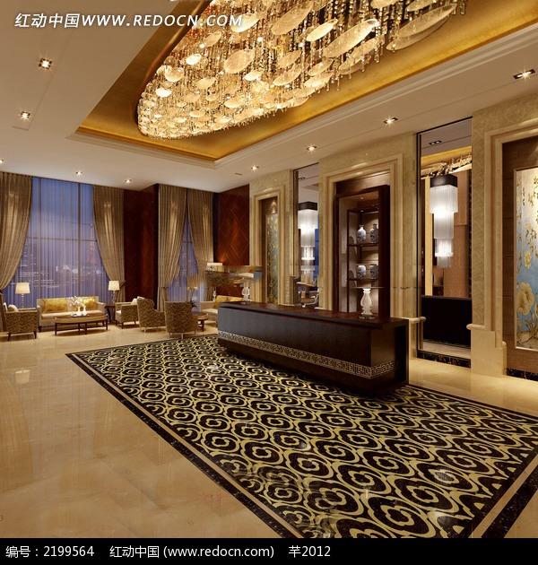 欧式风格酒店大厅前台效果图片