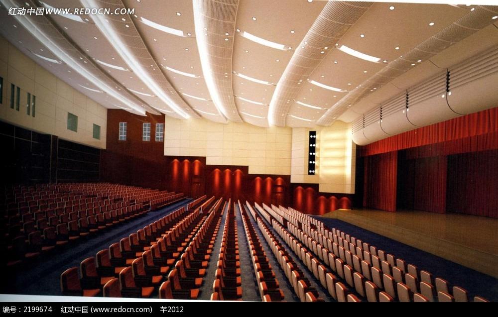 大型阶梯会议室效果图3dmax素材免费下载_红动网