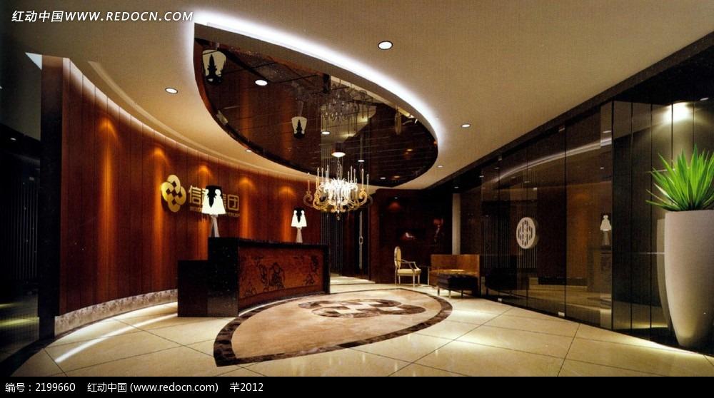 酒店前台装潢效果图图片