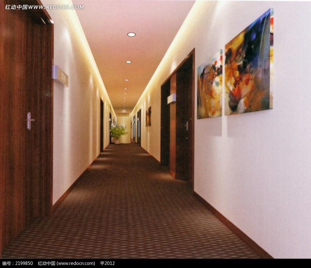 宾馆客房走廊效果图3dmax免费下载