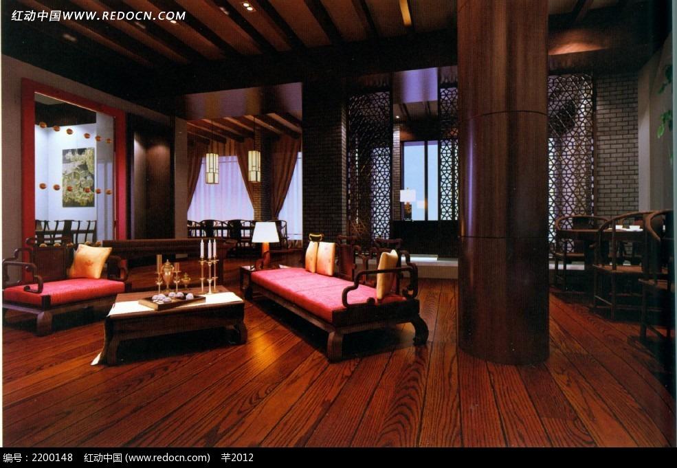 中式木质古典餐厅室内效果图