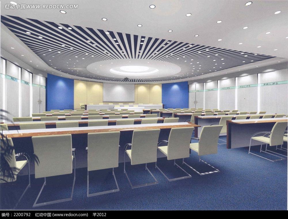 现代多媒体会议室效果图
