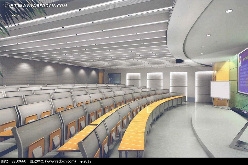 阶梯会议室效果图片3dmax免费下载_室内设计素材_编号