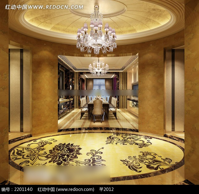 富丽酒店餐厅装修效果图3dmax免费下载 室内设计素材高清图片