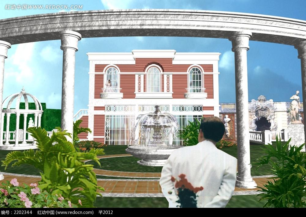欧式园林别墅喷泉3d模型