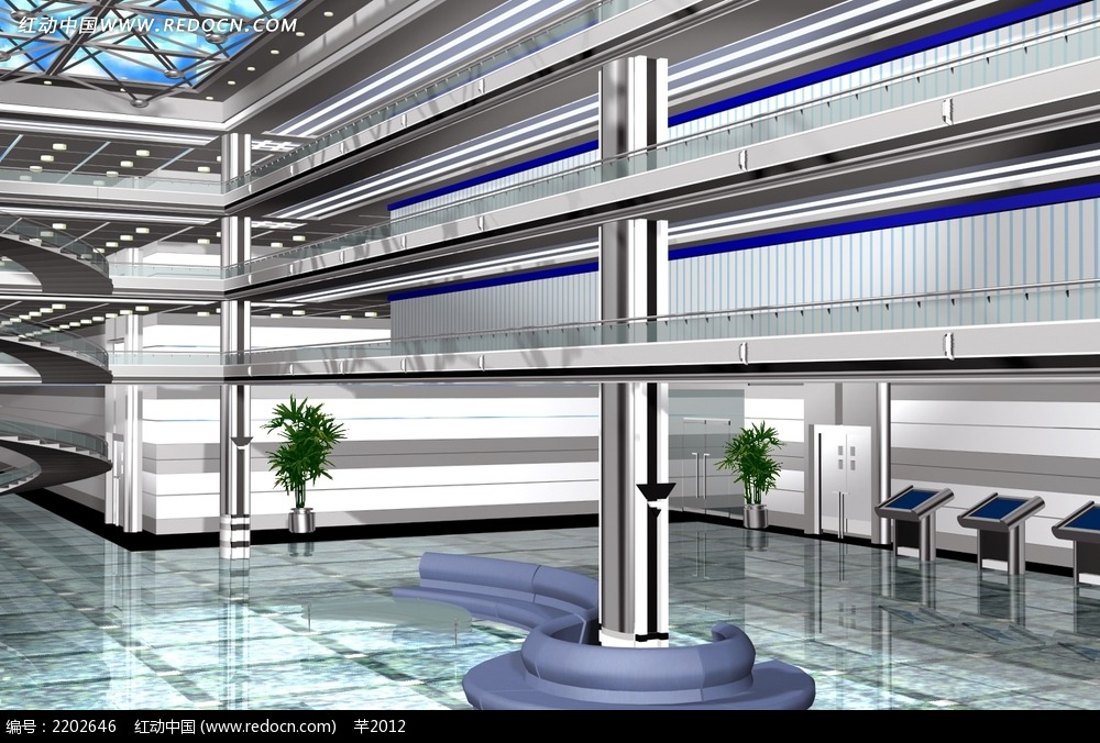 图书馆室内设计3d概念图