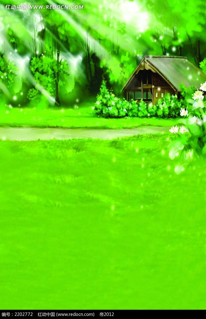 绿色森林茅草屋_底纹背景图片