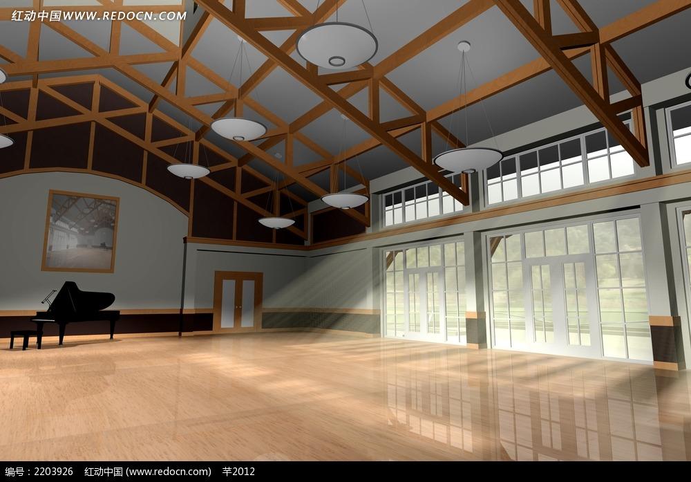 舞蹈 练习室 效果图 室内设计图片高清图片