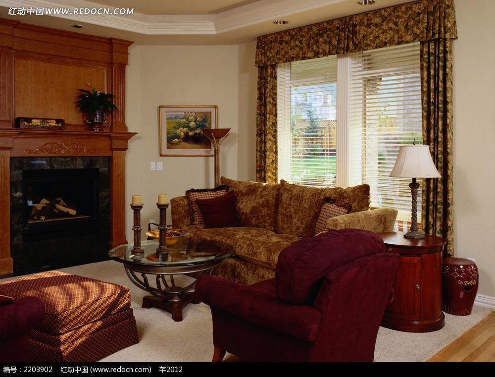 欧式复古客厅沙发效果图图片