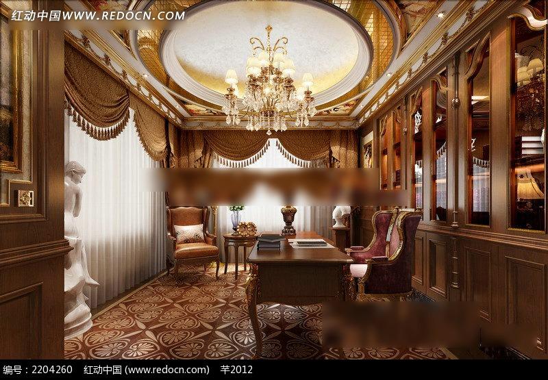 欧式书房效果图_室内设计