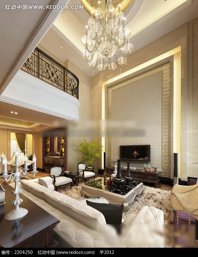 复式楼客厅装修效果图3dmax免费下载 室内设计素材 -复式楼客厅装修