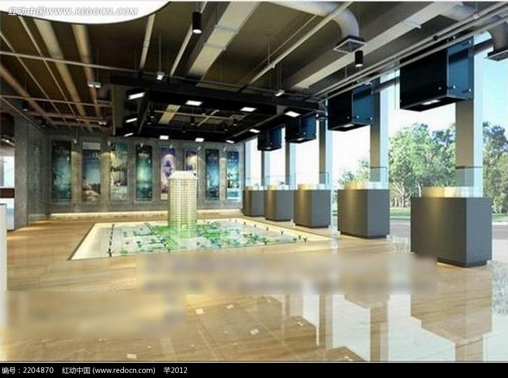 公司展厅效果图_室内设计
