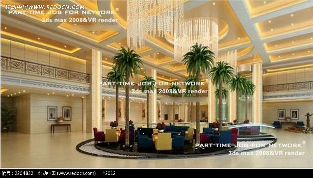 欧式风格酒店大厅前台效果图片_室内设计_红动手机版