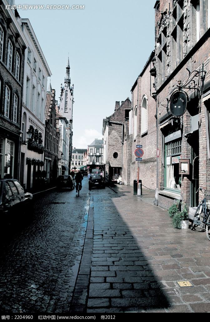 欧式街景儿童摄影背景画图片