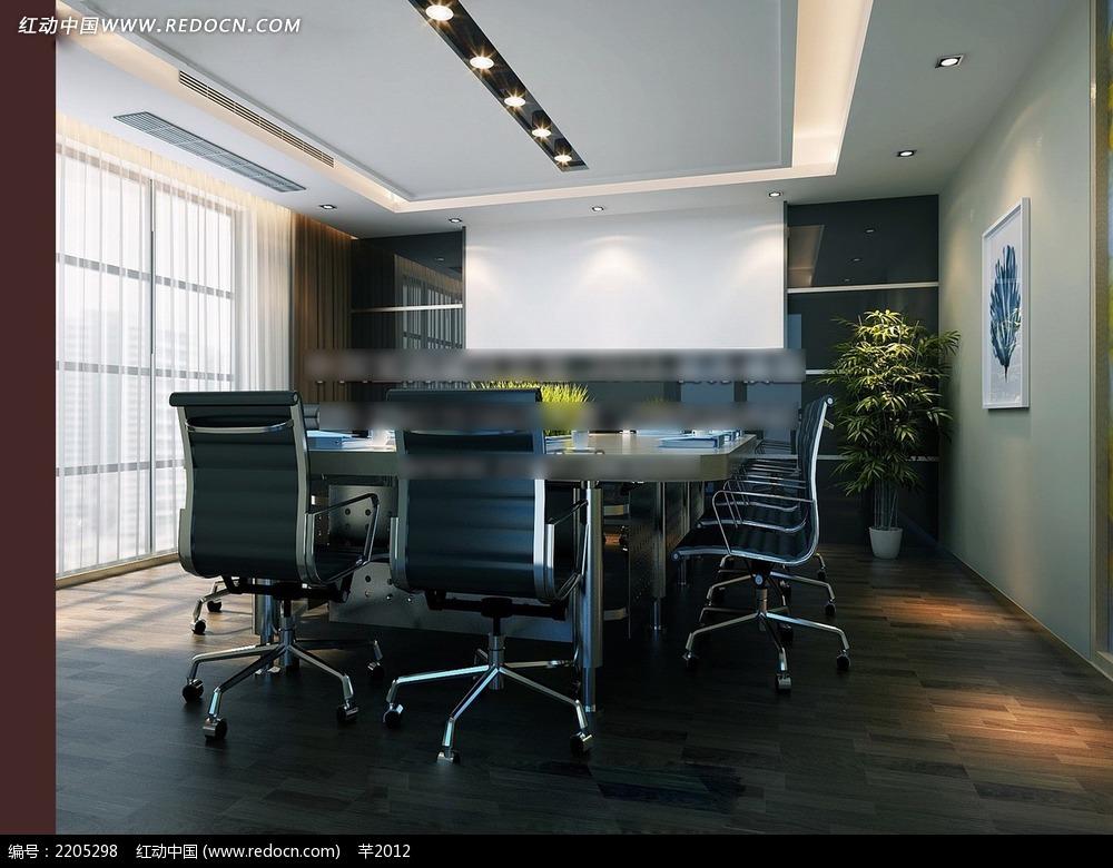 小会议室效果图3dmax免费下载_室内设计素材