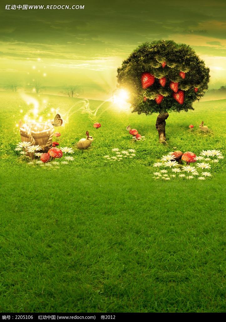 草莓树儿童摄影背景画图片免费下载 编号2205106 红动网