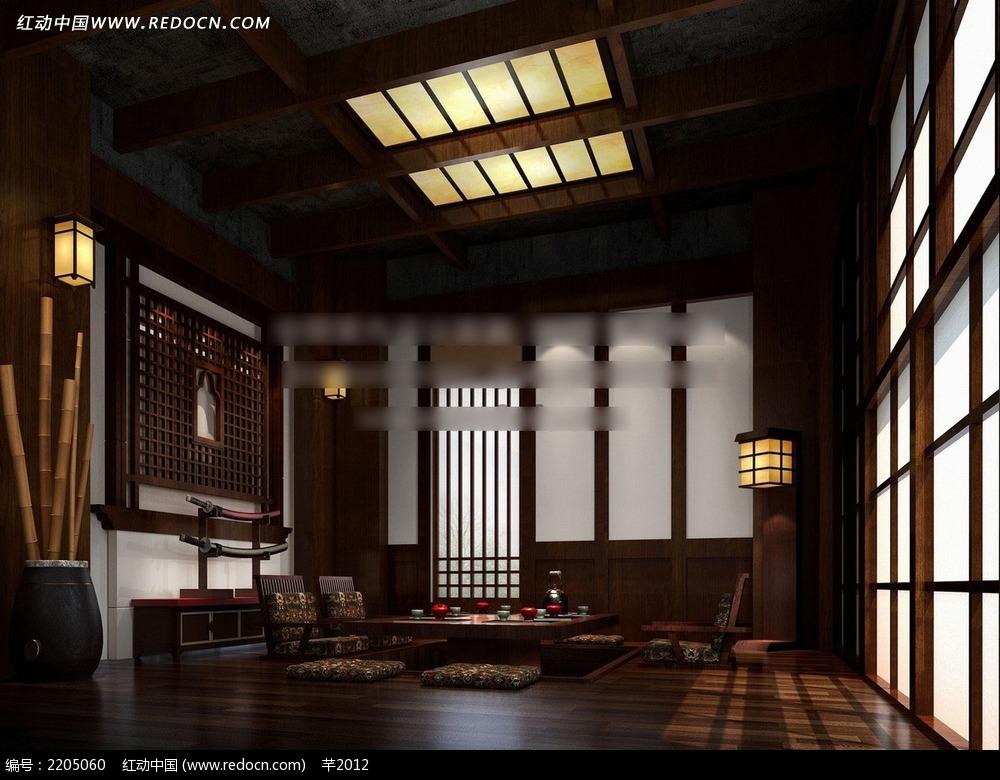 中式传统室内效果图高清图片