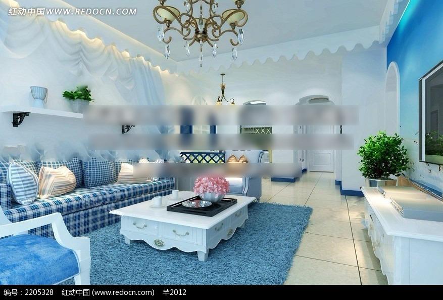 免费素材 3d素材 3d模型 室内设计 地中海风格客厅效果图  请您分享图片