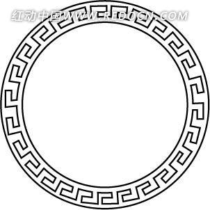 中式圆圈边框ai素材免费下载_红动网图片