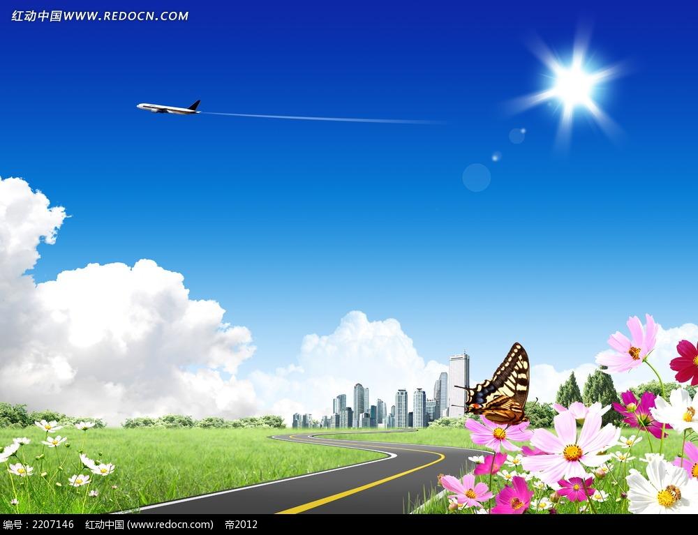 高速公路蓝天白云风景素材图片