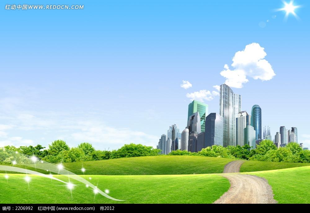 蓝天白云草地城市素材