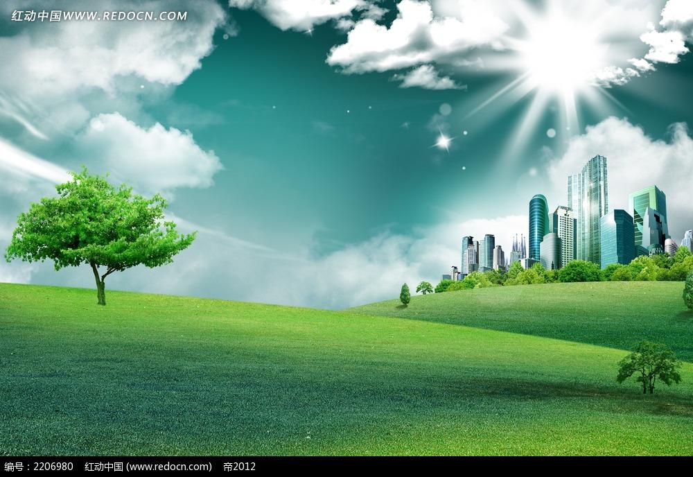 大自然草地城市建筑风光背景画图片