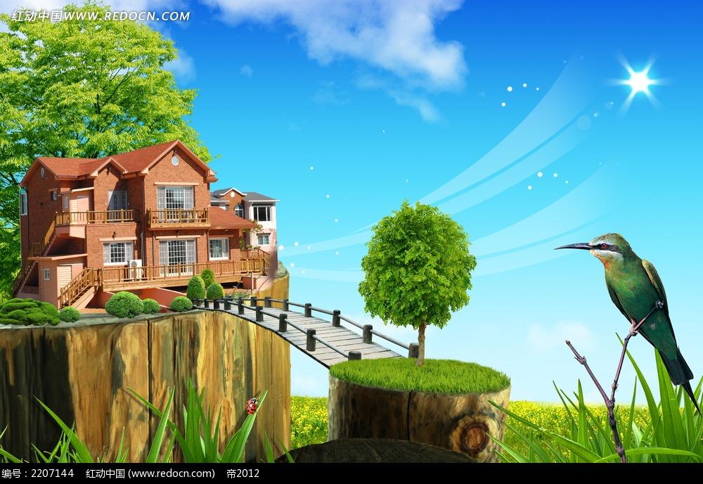 韩国别墅风景素材_底纹背景图片_红动手机版