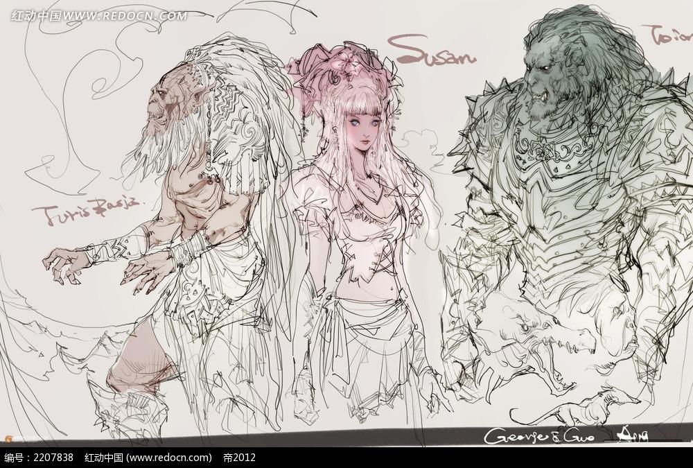 美女和野兽手绘线稿画