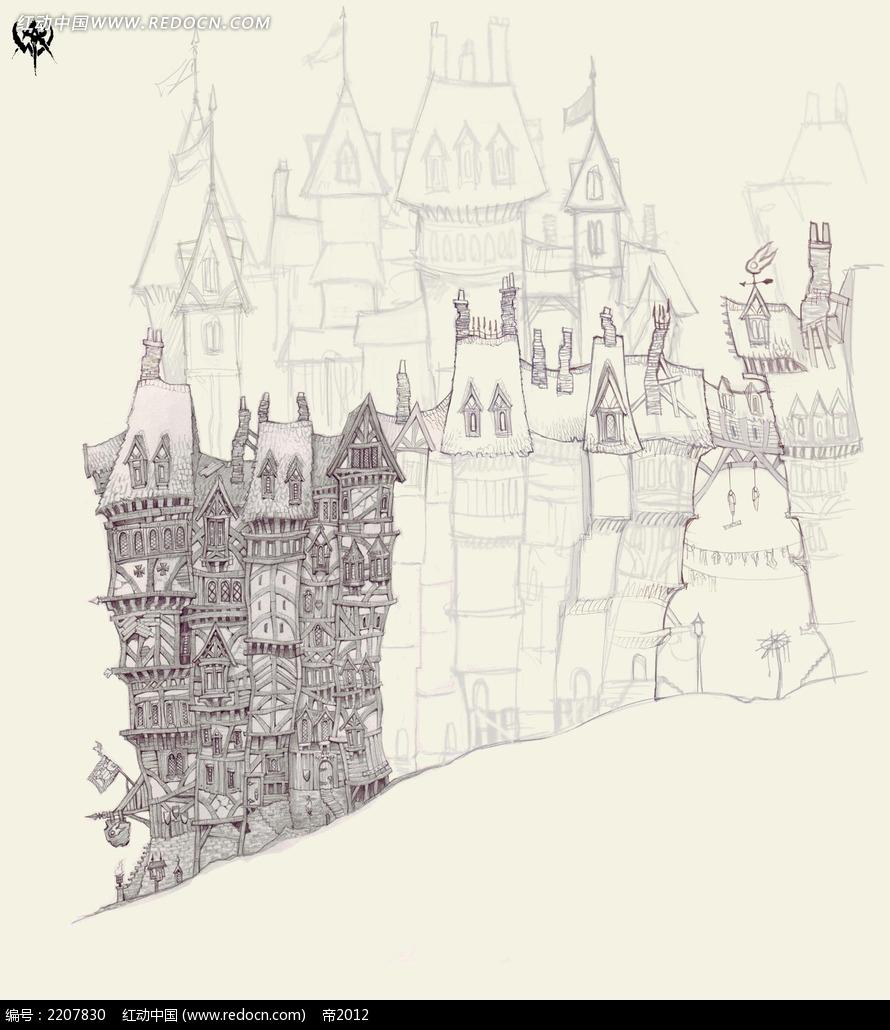欧式尖顶建筑手绘线稿画