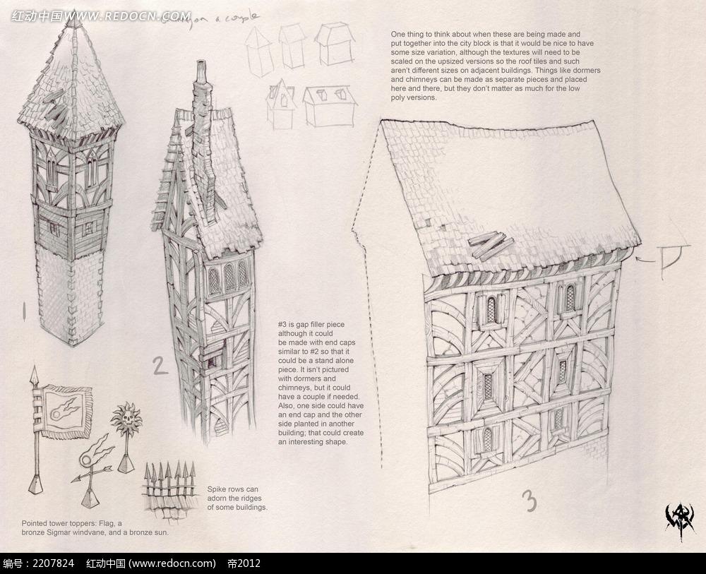 欧式建筑手绘线稿画_人物卡通图片