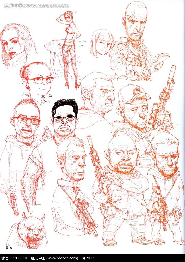 人物形象手绘线稿图