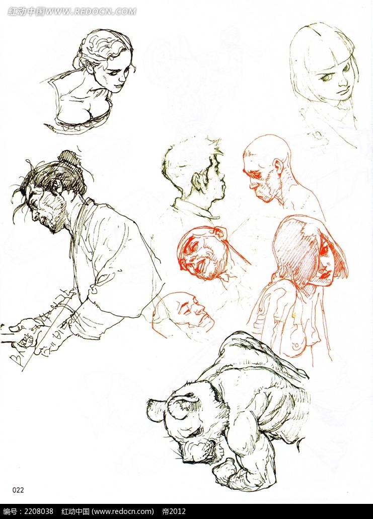 图片素材 漫画插画 人物卡通 古装人物头像线描  请您分享: 红动网