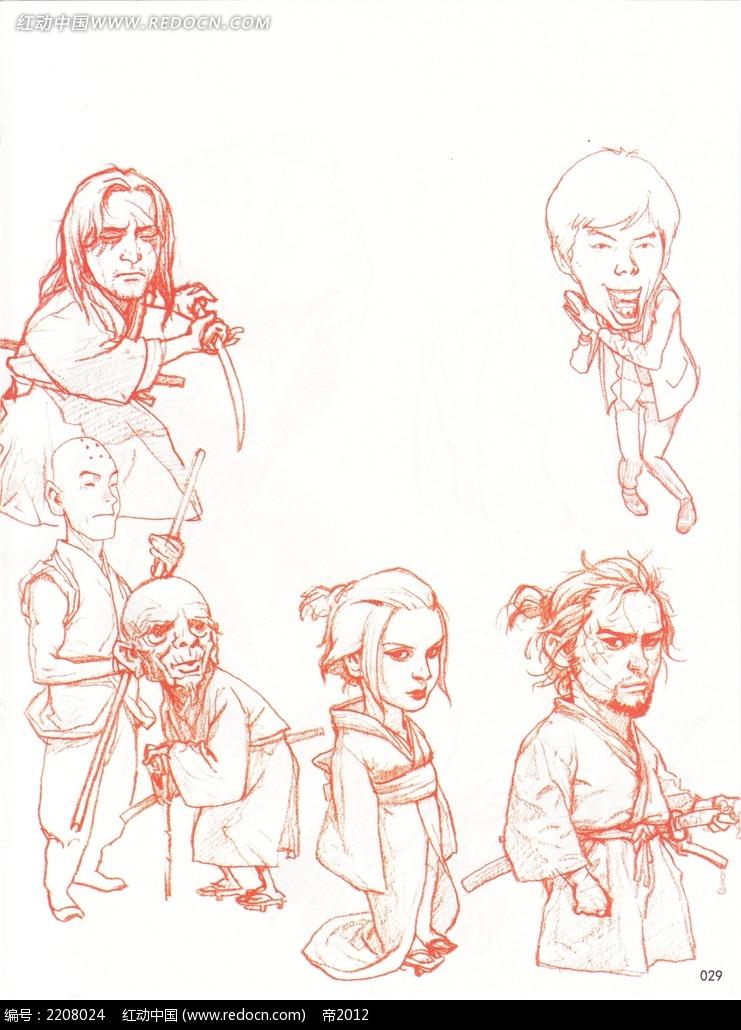 图片素材 漫画插画 人物卡通 古装汉服人物线描  请您分享: 红动网