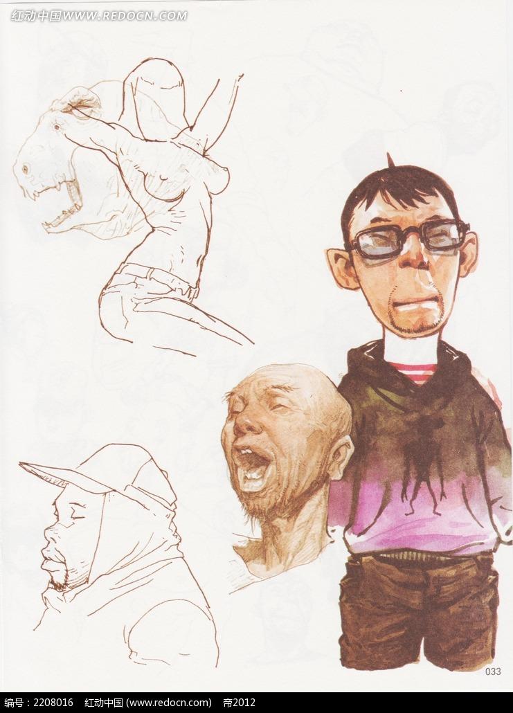 卡通人物速写图片