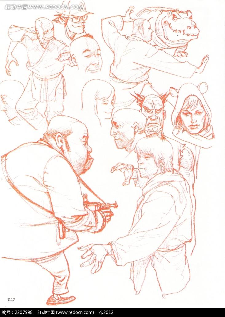 免费素材 图片素材 漫画插画 人物卡通 人物动作手绘速写  请您分享