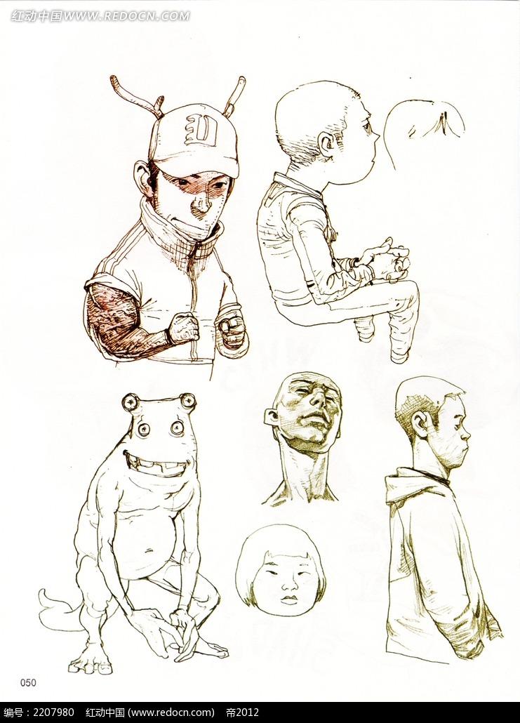 卡通男孩人物头像线描