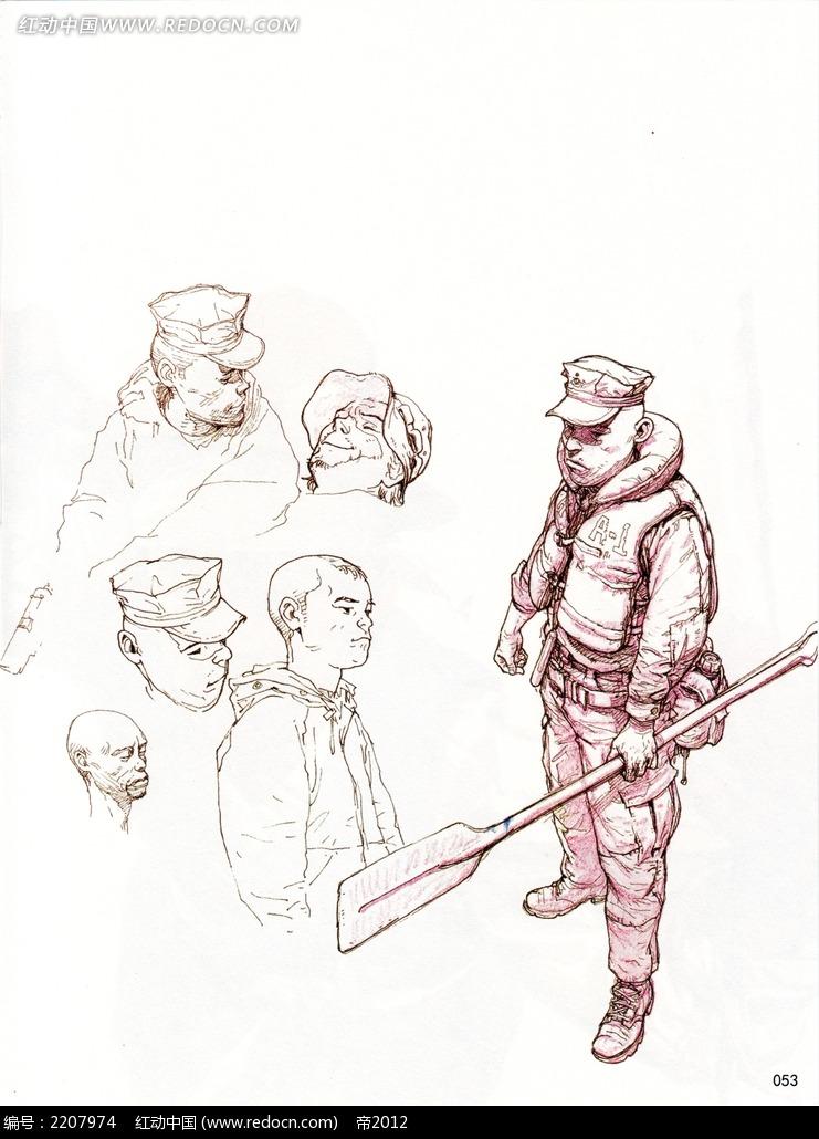 免费素材 图片素材 漫画插画 人物卡通 训练士兵的班长人物线描