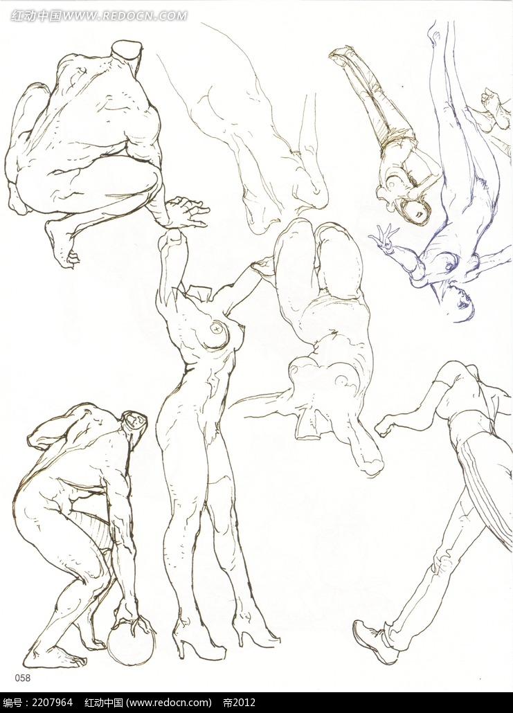 人体动态速写_人物卡通图片