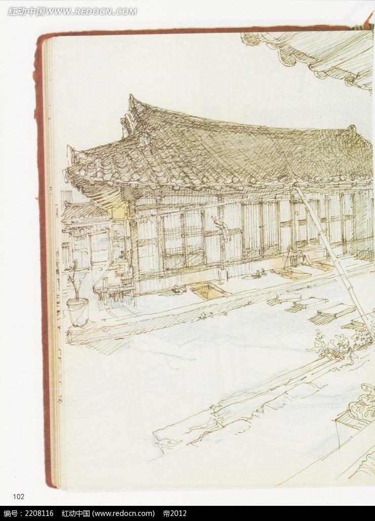古建筑写生线描稿
