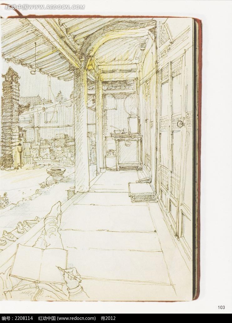 古建筑廊道写生线描稿