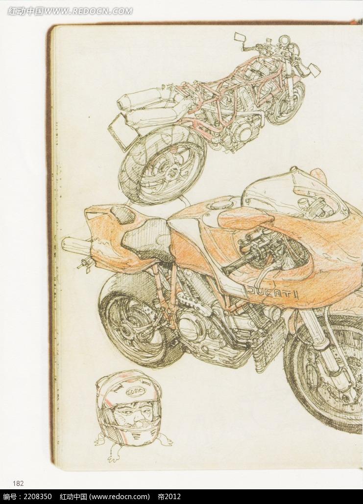 酷炫摩托车彩色铅笔画图片