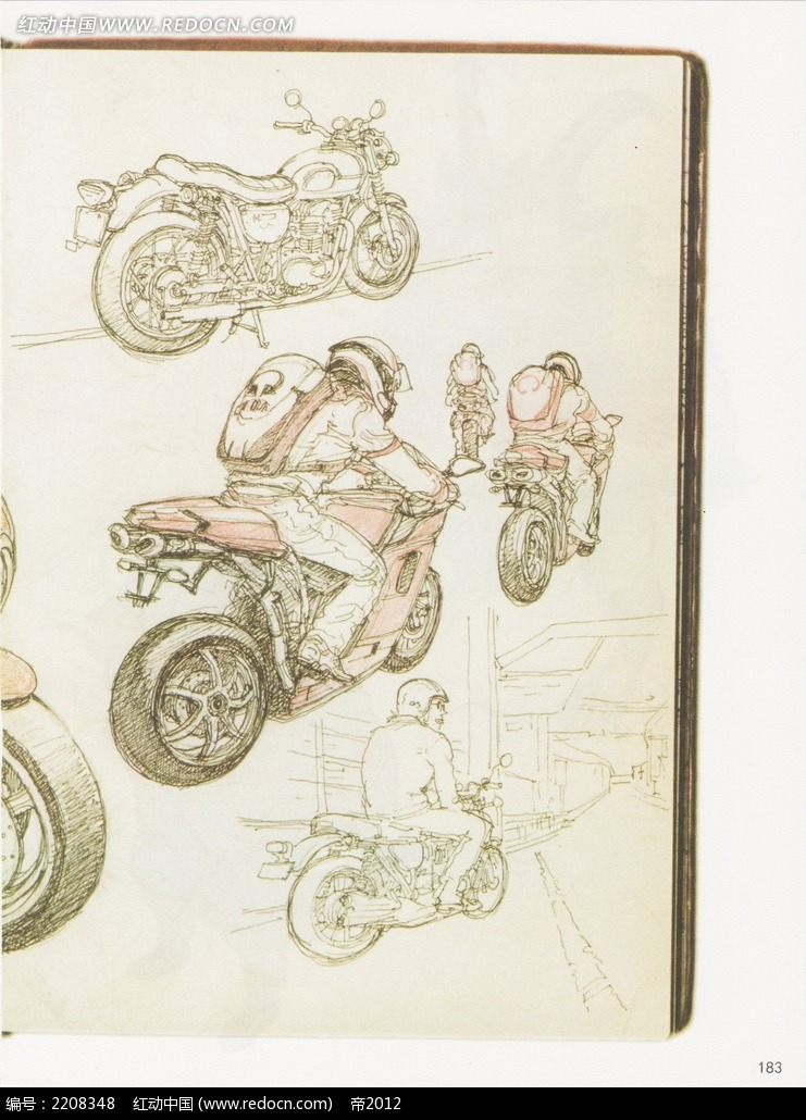 酷炫摩托车彩色铅笔画