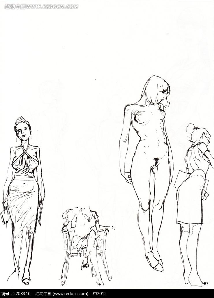 人体形态服饰素描图