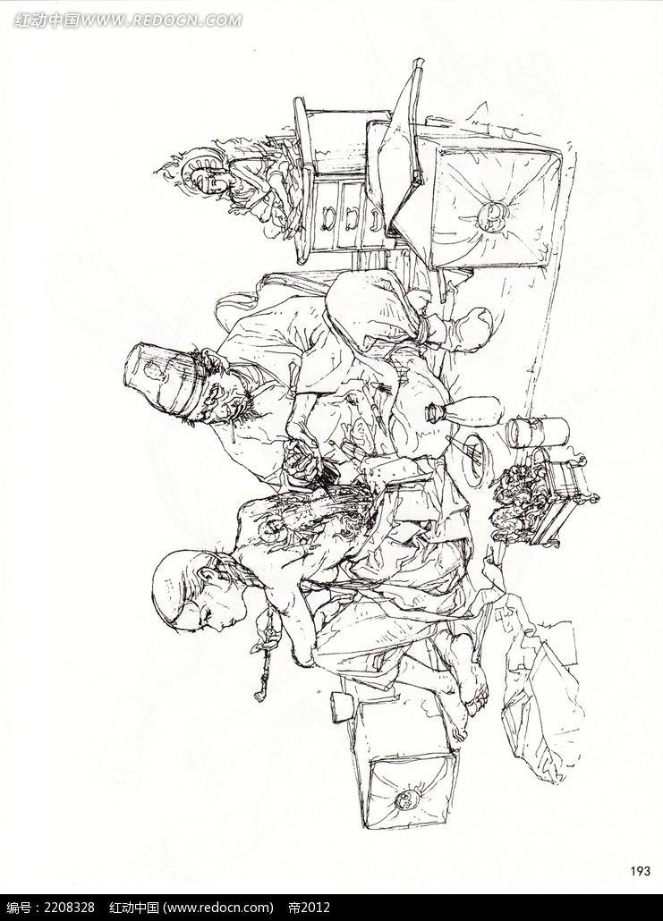 动手术的医生手绘线稿图图片