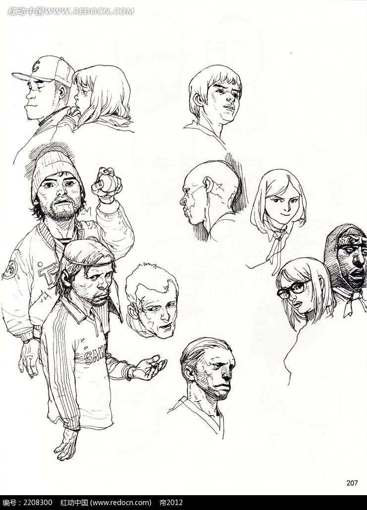 卡通人物头像线描