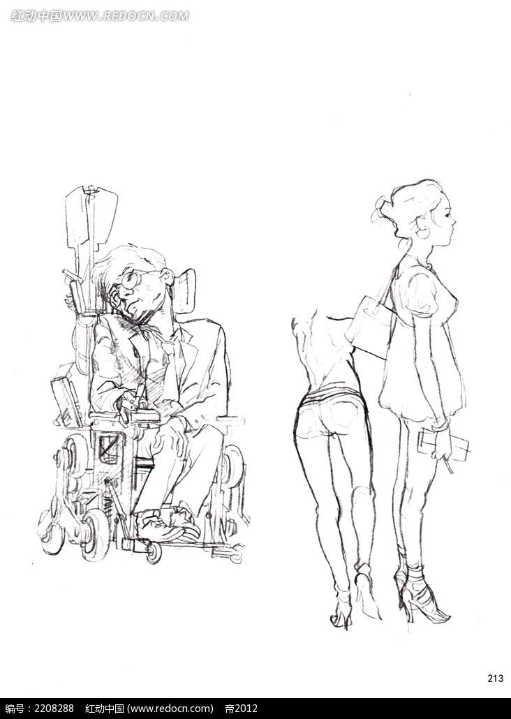 残疾人士坐在轮椅上线描图片