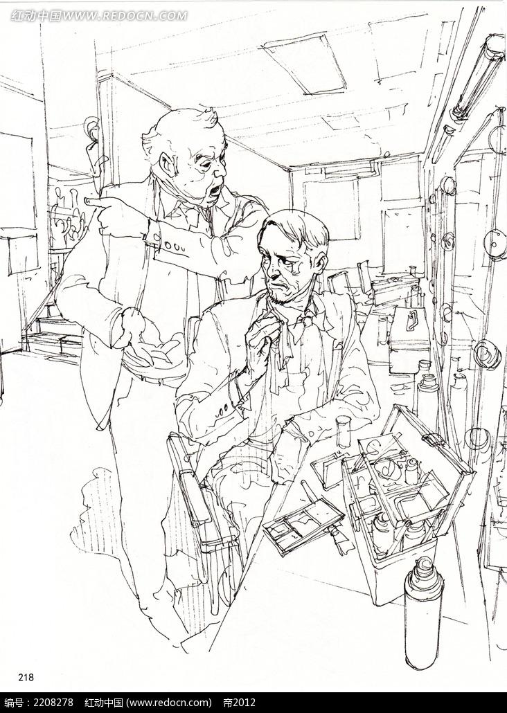 工作中的男人手绘线描